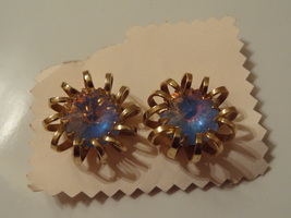 Vintage Sarah Coventry Gold Tone Wire Statement Earrings Large Blue Rhinestone - $10.99