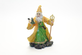 Magician Mage Holding Staff and Dragon Figurine - $9.90