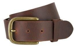 Mens Oil Tanned Solid Genuine Leather Belt with Vintage Metal Buckle, Brown B... - $21.73