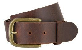 Mens Oil Tanned Solid Genuine Leather Belt with Vintage Metal Buckle, Brown B... - $21.73