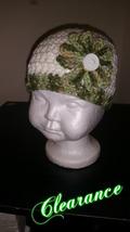 Handmade Crochet Flowered Baby's Hat (Green & White) - $10.00