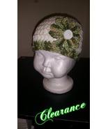 Handmade Crochet Flowered Baby's Hat (Green & W... - $10.00