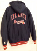 Atlanta Braves MLB Authentic Starter Insulated Jacket with Hood Navy M M... - $33.95