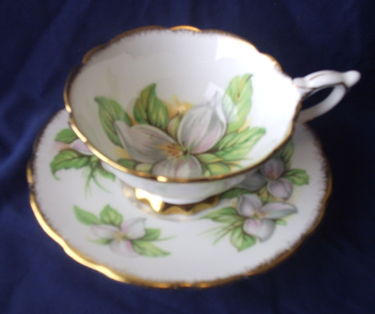 White Trillium Pattern Cup & Saucer Royal Stafford