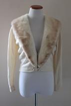 Vintage Beige Mink Fur Collar Cashmere Cardigan Sweater Fully Lined Size... - $138.38