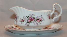 Royal Albert Bone China Lavender Rose Gravy Boat Underplate England Flow... - $79.19