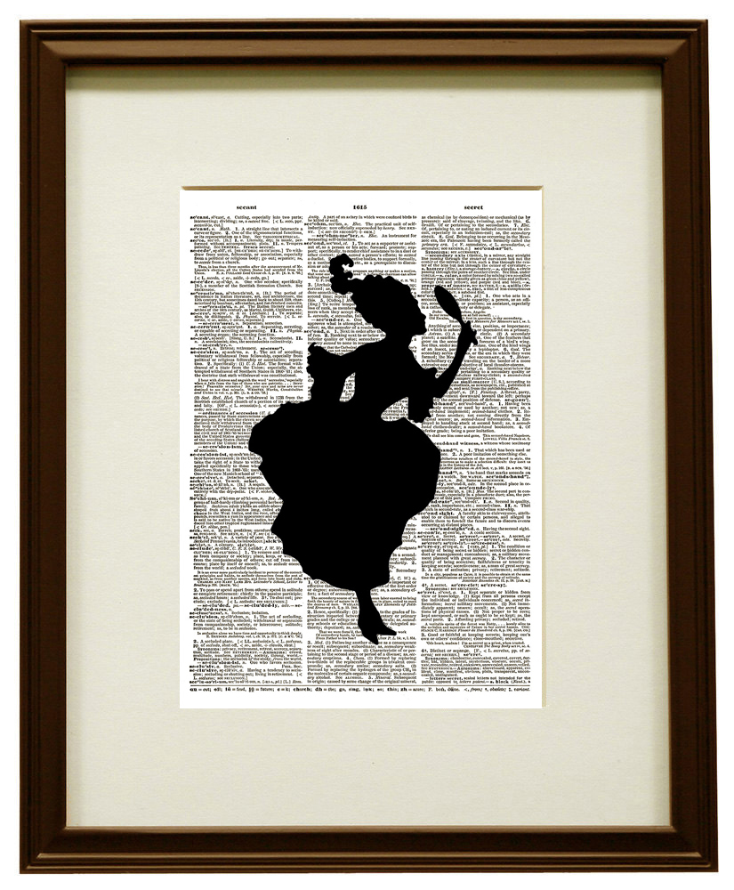 WOMAN SILHOUETTE Looking in Hand Mirror Vintage Dictionary Art Print No. 0090