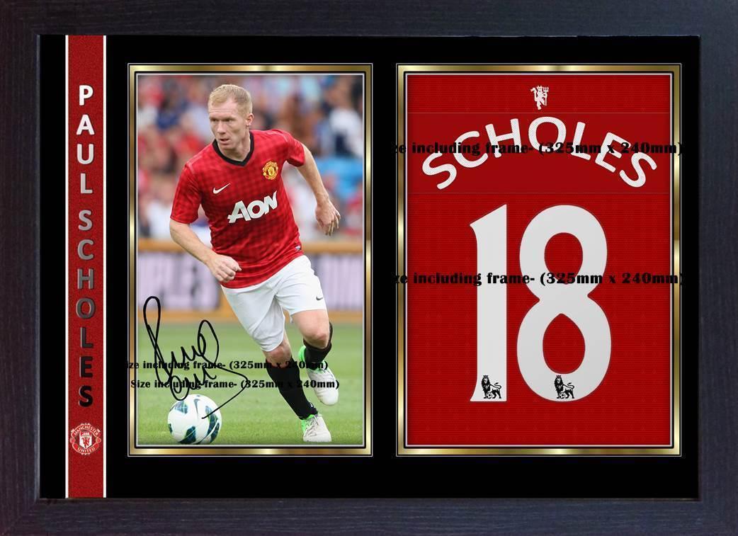 Paul Scholes jersey t shirt signed autograph photo print Framed