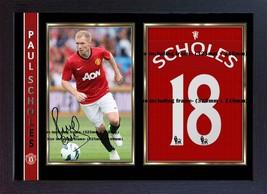 Paul Scholes jersey t shirt signed autograph photo print Framed image 1