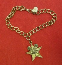 """Gold Tone 8"""" Signed Disney Bracelet With Star And Water Tower 1"""" Charm Collector - $11.39"""