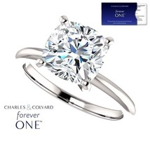 3.30 Carat (9mm) Cushion Moissanite Forever One Ring 14K Gold (Charles&C... - $1,495.00