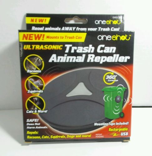 Rechargeable Ultrasonic Trash Can Animal Repeller with 360 Coverage NIB