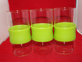 Viva Scandinavia 3 Tall Drinking Glass Tumbler Set Light Green Silicone ... - $61.51