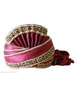 DESIGNER SILK BLEND TURBAN MEN HAT INDIAN WEDDING PAGRI MAROON HANDMADE ... - $79.99
