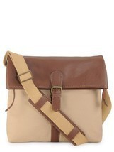 Phive Rivers Men's Leather Messenger Bag (Khaki) - $108.00