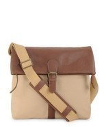 Phive Rivers Men's Leather Messenger Bag (Khaki) - £81.03 GBP