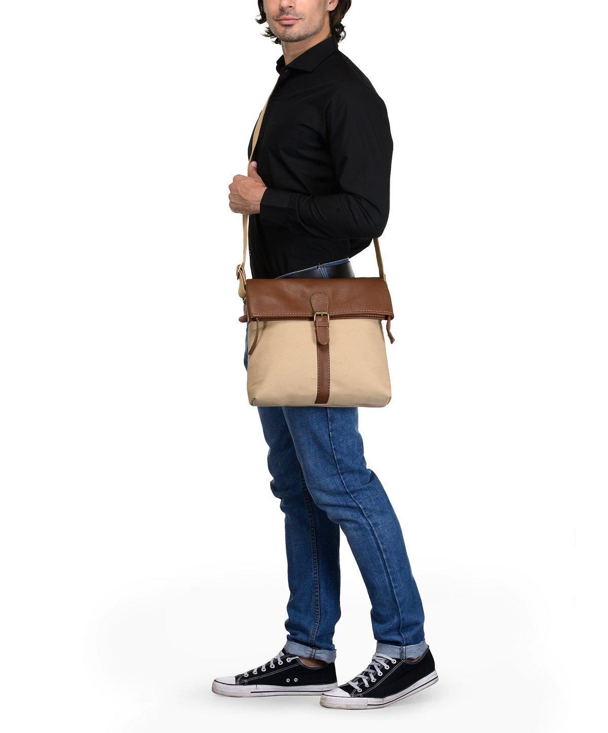 Phive Rivers Men's Leather Messenger Bag (Khaki)