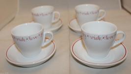 Starbucks Coffee Set of 4 Demitasse Espresso Cups and Saucer 2005 Love J... - $53.72