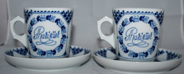 HUTSCHENREUTHER 2 Blue Coffee / Tea Cups with Saucers 1814 Germany  Very Rare - $44.88