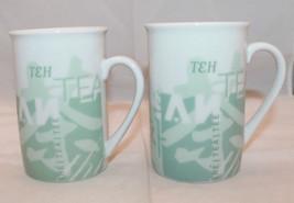 Set of 2 Starbucks 1998 Tazo Tea Coffee Mug Cups No Lid Light Green Lang... - $44.63