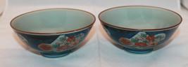Japanese Arita Yaki Set of 2 Dark Blue Porcelai... - $44.63
