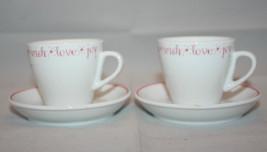 2005 Starbucks Coffee 2 Demitasse Cups and Saucers Set Love Joy Wish Esp... - $34.80