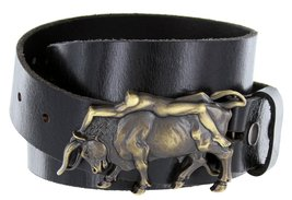 Antique Brass Naked Lady Bull Rider Genuine Leather Belt for Men (Black, 44) - $29.69