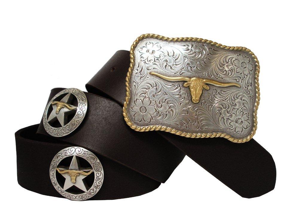Longhorn Silver Star Western Conchos Leather Belt Black 44 - $39.55