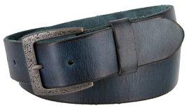 "Men's Genuine Full Grain Leather Casual Jeans Belt 1-1/2"" = 38mm (46, Blue) - $22.27"
