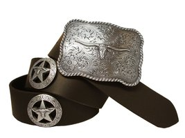 Longhorn Silver Star Western Conchos Leather Belt Brown 42 - $43.50