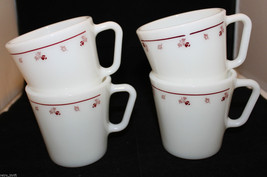 Corning Corelle Pyrex Set of 4 Burgundy Rose Milk Glass Coffee Mug Cup 300ml USA - $57.53