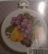 Janlynn Grapes Pears Fruit 00-130 Framed Ornament Counted Cross Stitch Kit - $13.83