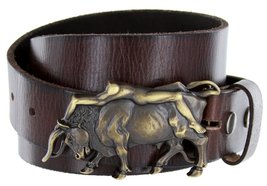 Antique Brass Naked Lady Bull Rider Genuine Leather Belt for Women (Brown, 36) - $29.69