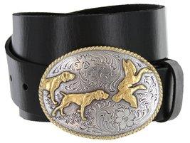 Outdoorsman Hunting Dogs & Birds Full Grain Leather Belt (Black, 44) - $29.69