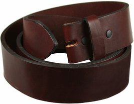"Hand Cut Burgundy Full Grain Work Jean Casual 1.5"" Wide Leather Belt Strap Ma... - $32.62"
