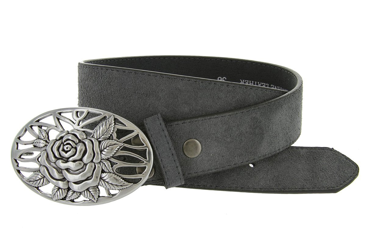 Silver Rose And Vines Buckle With Genuine Suede Leather Belt Strap In Grey