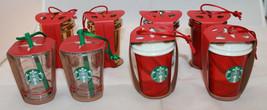 Lots of 8 Starbucks Coffee Holiday 2014 Christmas Ceramic Plastic Orname... - $88.53