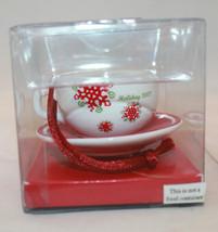 New Starbucks Coffee Holiday 2007 Mini Christmas Ornament  White Red Mug... - $34.80
