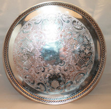 Primrose Plate Round Footed Silver Metal Tray E... - $68.09