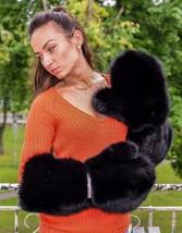 Real Black Fox Fur Massive Ladies Mittens Gloves - $355.99