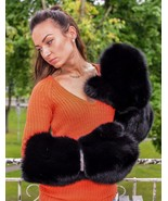 Real Black Fox Fur Massive Ladies Mittens Gloves - $344.99
