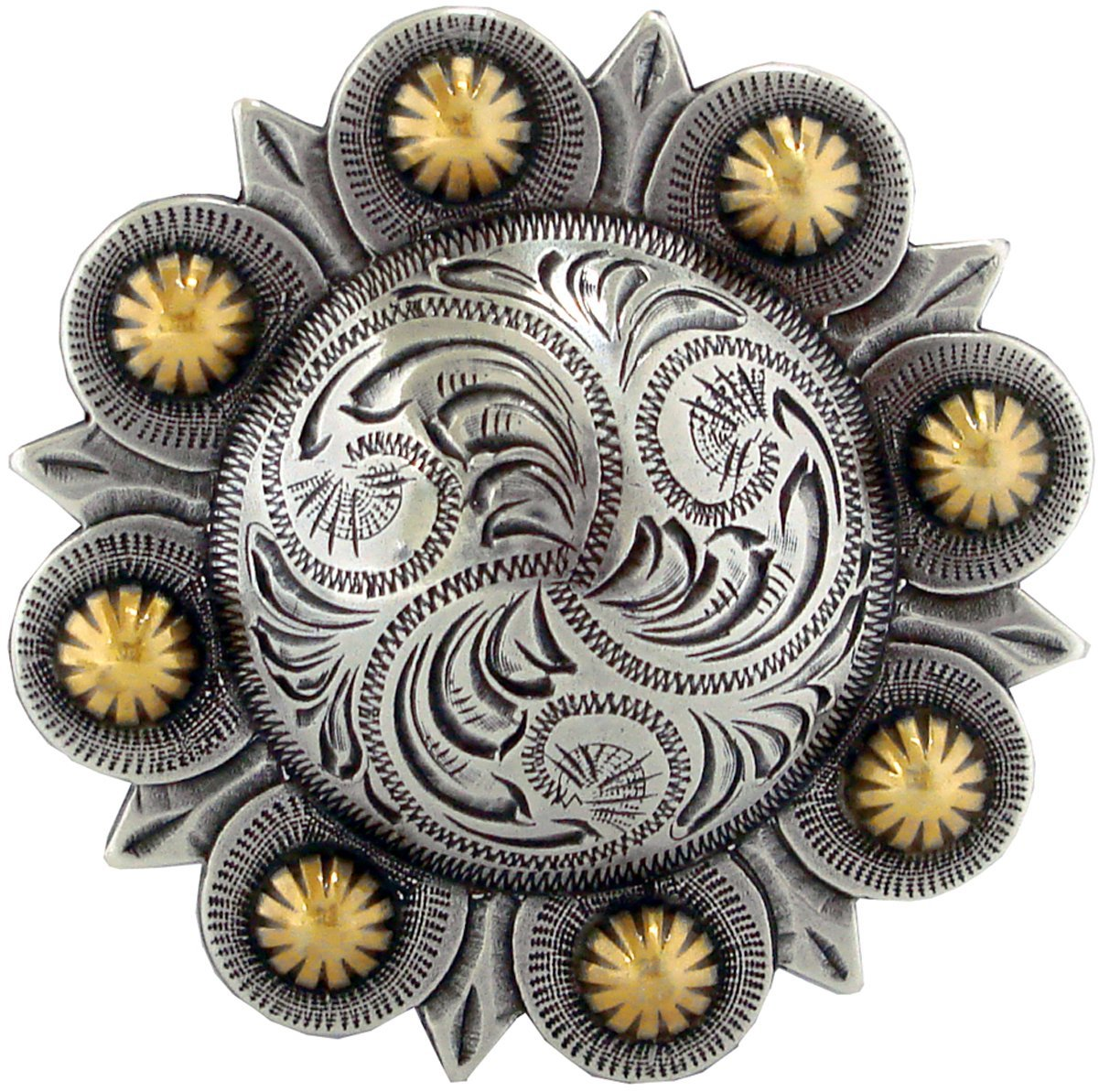 Antique Gold and Silver Finish Berry Design Metal Belt Buckle - $9.88