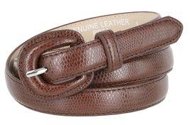 "Women's Skinny Snakeskin Embossed Genuine Leather Dress Belts 3/4"" = 19mm (Br... - $9.85"