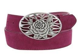 Silver Rose And Vines Buckle With Genuine Suede Leather Belt Strap In Pink - $29.69