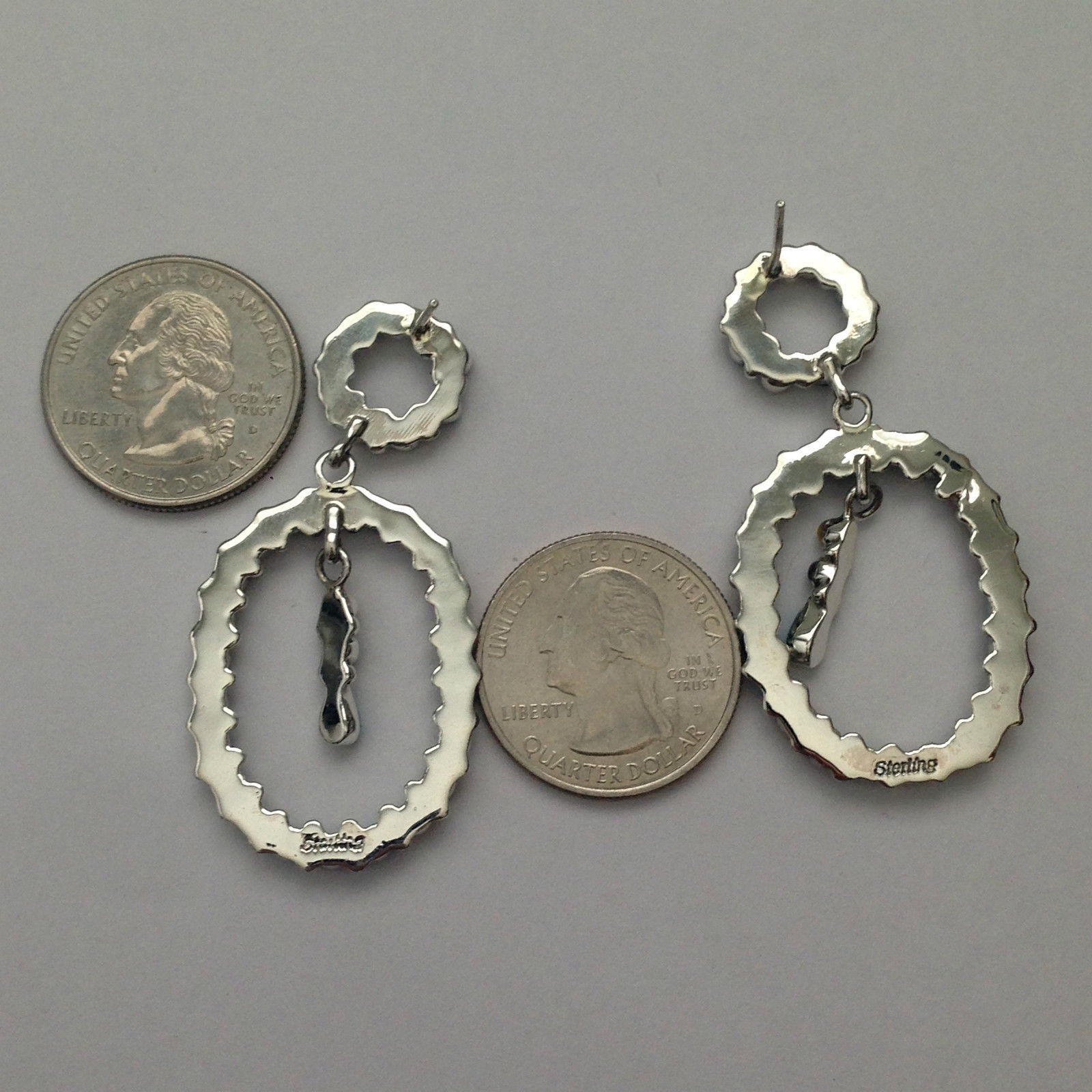 Sterling Silver Handmade Snake Eye Needlepoint Stone Round Oval Post Earrings