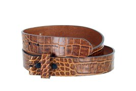 "MZ Crocodile Embossed Pattern 1-3/8"" (35mm) Wide Leather Belt Strap for Men (... - $12.63"