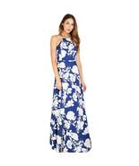 Women's Floral Print Boho Maxi Long Party Summer Blue Dress - $55.00