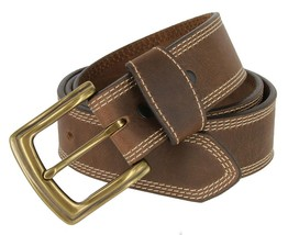 Triple Stitcheded Western Design Casual Leather Jean Belt for Men(Brown, 38) - $25.73