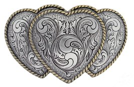 Antique Gold and Silver Finish Triple Hearts Ladies' Cowgirl Belt Buckle - $9.88