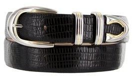 Coronado Italian Calfskin Leather Designer Dress Belts for Men (46, Lizard Bl... - $29.20